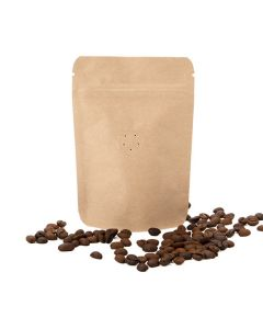 """4"""" x 2 3/8"""" x 6""""(Outer Dimensions) Kraft Metallized Stand Up Pouch w/ Valve (100 Pieces) [ZBGM2K]"""
