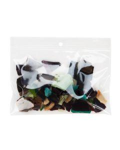 "rocks inside crystal clear zipper bag | 6"" x 4"""