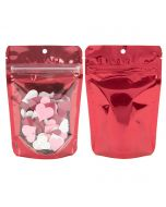 front and back view of red stand up pouch with confetti hearts