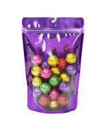 purple backed stand up zipper pouch with wrapped candies   11 oz