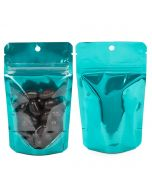 Food safe teal backed stand up pouch