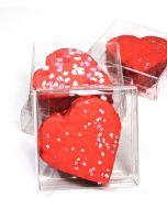 Clear plastic box with heart cakes