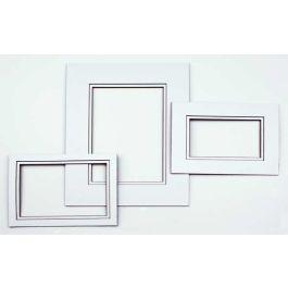 "11"" x 14"" Double Mat, White/Black Core 7 5/8"" x 9 5/8"" Inner Cut (10 Pieces) [MD20194]"