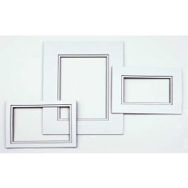 "16"" x 20"" Double Mat, White/Black Core 10 5/8"" x 13 5/8"" Inner Cut (10 Pieces) [MD20195]"