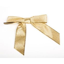 "7/8"" Metallic Gold Pre-tied Bow (100 Pieces) [BOW7MG]"