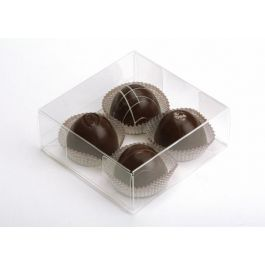 "4 1/4"" x 1 5/8"" x 4 1/4"" Crystal Clear Truffle Box (25 Pieces) [FB194]"