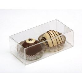 "2 1/8"" x 1 3/8"" x 4 1/4"" Crystal Clear Truffle Box (25 Pieces) [FB195]"