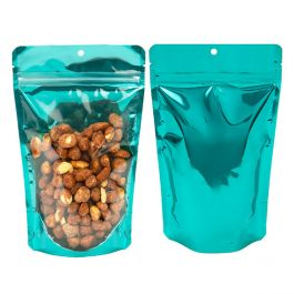"5 1/8"" x 3 1/8"" x 8 1/8"" (Outer Dims) Bright Teal Backed Stand Up Pouch w/Hang Hole (100 Pieces) [ZBGB3TL]"