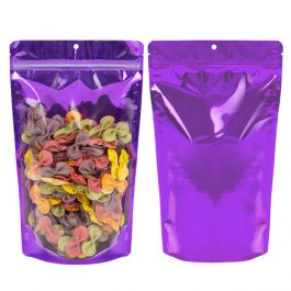"6 3/4"" x 3 1/2"" x 11 1/4"" (Outer Dims) Bright Violet Backed Stand Up Pouch w/Hang Hole (100 Pieces) [ZBGB4VL]"