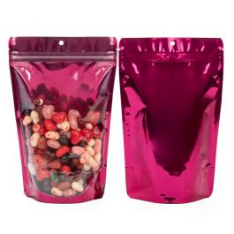 "5 7/8"" x 3 1/2"" x 9 1/8"" (Outer Dims) Bright Fuchsia Stand Up Pouch with Hang Hole (100 Pieces) [ZBGB7FS]"