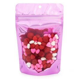 "4"" x 2 3/8"" x 6"" (Outer Dims) Brilliant Pink Stand Up Pouch w/Hang Hole (100 Pieces) [ZBGB2PK]"