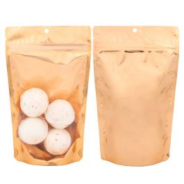 "5 1/8"" x 3 1/8"" x 8 1/8"" (Outer Dims) Brilliant Peach Stand Up Pouch w/Hang Hole (100 Pieces) [ZBGB3PC]"