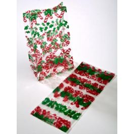 "3 1/2"" x 2"" x 7 1/2"" Candy Canes Printed Gusset Bags, 1.2 Mil (100 Pieces) [G3CCN]"