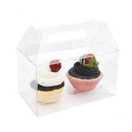"7"" x 4"" x 4"" Double Cupcake Handle Box Set (100 Sets) [CBS173]"