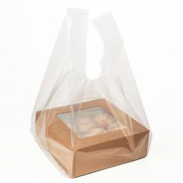 "14 1/2"" x 10 1/2"" x 30"" Clear Poly Handle Bag (100 Pieces) [CHB2]"