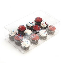 "9 1/2"" x 6"" x 3"" Cupcake Box Set for Mini Dozen (100 Sets) [CBS178]"