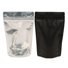 "4"" x 2 3/8"" x 6"" (Outer Dimensions) Black Backed Zipper Pouch Gusset Bags (100 Pieces) [ZBGB2]"