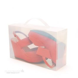 """7 1/16"""" x 3 3/4"""" x 11 5/8"""" Womens Frosted Shoe Box w/Handle (4 Pieces) [SB1]"""