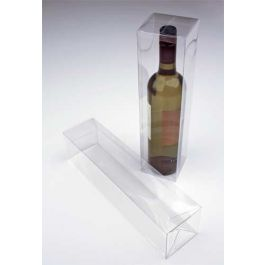 "3 3/8"" x 3 3/8"" x 12 5/8"" Clear Wine Box with a Pop & Lock Bottom (25 Pieces) [PLB176]"
