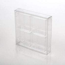 "2 3/4"" x 13/16"" x 2 11/16"" Crystal Clear Artisan Candy Box Sets for 4 (25 Pieces) [CNDY276]"