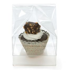 "4"" x 4"" x 7"" Single Cupcake Bag Set w/Paper Bottom (100 Sets) [CBG4]"