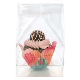 "4"" x 4"" x 9"" Single Cupcake Bag Set w/Paper Bottom (100 Sets) [CBG4XL]"