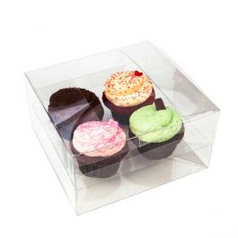 "7 1/2"" x 7"" x 4"" Cupcake Box Set for Four (100 Set) [CBS177]"