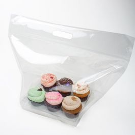 "17 15/16"" x 9"" x 12 1/8"" Zip Handle Cupcake Bags for Six (100 Pieces) [CZHB1]"
