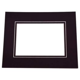 "8"" x 10"" Double Mat Jet Black/Jet Black Conservation 4"" x 6 1/2"" Inner Cut (25 Pieces) [MD30037]"
