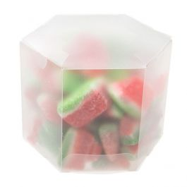 "3 1/2"" x 3 1/2"" x 3"" Frosted Hexagon Box (25 Pieces) [FS352F]"