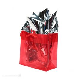 "6 5/16"" x 3"" x 6 5/16"" Red Glossy Clear Colored Gift Bag (10 Pieces) [G66RD1]"