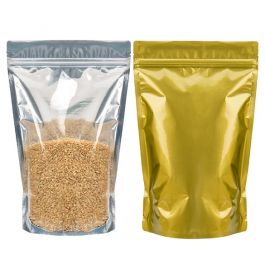 """7 7/16"""" x 4 1/2"""" x 11 9/16"""" (Outer Dimensions) Gold Backed Zipper Pouch Bags (100 Pieces) [ZBGG6H11]"""