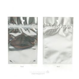 """3 5/8"""" x 5"""" Silver Backed Metallized Hanging Zipper Barrier Bags (100 Pieces) [HZBB4S]"""