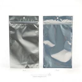 "5"" x 8 3/16"" Silver Backed Metallized Hanging Zipper Barrier Bags (100 Pieces) [HZBB6S]"