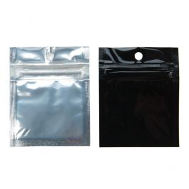"""2"""" x 2"""" Black Backed Metallized Hanging Zipper Barrier Bags (100 Pieces) [HZBB9CB]"""