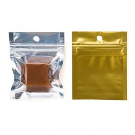 "2"" x 2"" Gold Backed Metallized Hanging Zipper Barrier Bags (100 Pieces) [HZBB9CG]"