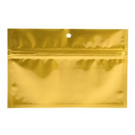 "6"" x 2 3/4"" Gold Metallized Hanging Zipper Barrier Bags (100 Pieces) [HZBB2MG]"