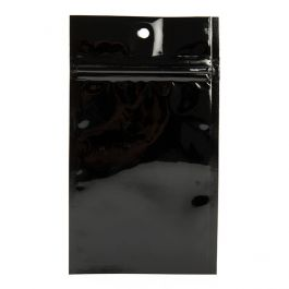 "3"" x 4 1/2"" Black Metallized Hanging Zipper Barrier Bags (100 Pieces) [HZBB3MB]"