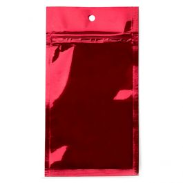 "3"" x 4 1/2"" Red Metallized Hanging Zipper Barrier Bags (100 Pieces) [HZBB3MR]"