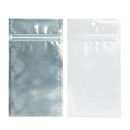 "4"" x 6 1/2"" White Backed Metallized Hanging Zipper Barrier Bags (100 Pieces) [HZBB5CW]"