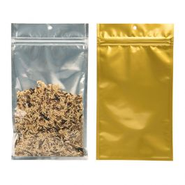 "5"" x 8 3/16"" Gold Backed Metallized Hanging Zipper Barrier Bags (100 Pieces) [HZBB6CG]"
