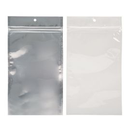 "5"" x 8 3/16"" White Backed Metallized Hanging Zipper Barrier Bags (100 Pieces) [HZBB6CW]"