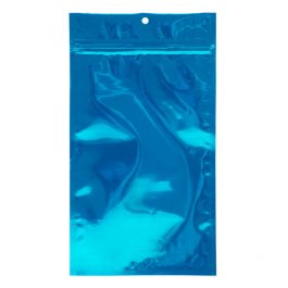 "5"" x 8 3/16"" Blue Metallized Hanging Zipper Barrier Bags (100 Pieces) [HZBB6MBL]"
