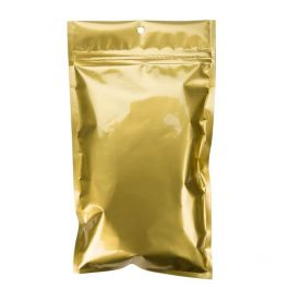 "5"" x 8 3/16"" Gold Metallized Hanging Zipper Barrier Bags (100 Pieces) [HZBB6MG]"
