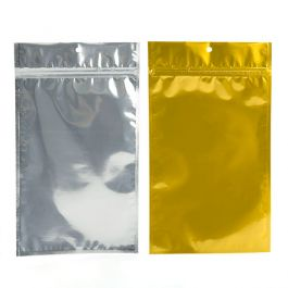 "6"" x 9 1/4"" Gold Backed Metallized Hanging Zipper Barrier Bags (100 Pieces) [HZBB7CG]"