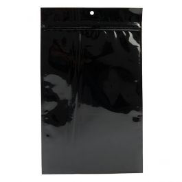 "6"" x 9 1/4"" Black Metallized Hanging Zipper Barrier Bags (100 Pieces) [HZBB7MB]"