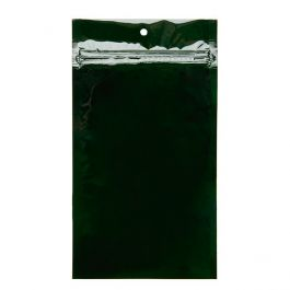 "5"" x 8 3/16"" Hunter Green Metallized Hanging Zipper Barrier Bags (100 Pieces) [HZBB6HG]"