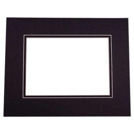 "11"" x 14"" Double Mat, Black/Black, 8 1/8"" x 10 5/8"" Inner Cut (10 Pieces) [MD20137]"