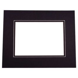 "16"" x 20"" Double Mat, Black/Black, 10 5/8"" x 13 5/8"" Inner Cut (10 Pieces) [MD20135]"