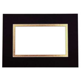 "18"" x 24"" Double Mat, Black/Gold, 12 5/8"" x 18 5/8"" Inner Cut (10 Pieces) [MD20180G]"